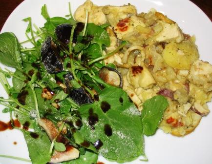 watercress_fig_and_walnut_salad_and_chicken_potato_and_porcini_persillade